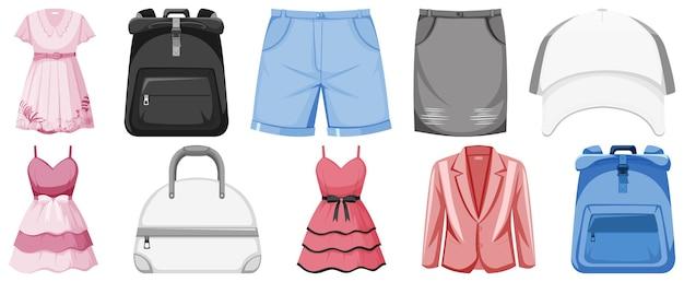 Zestaw ilustracji ubrania