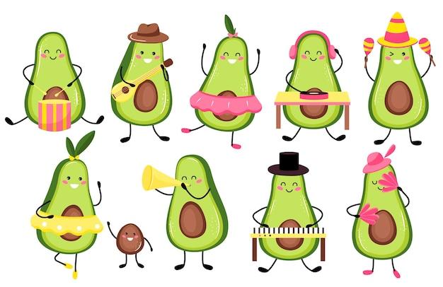 Zestaw ilustracji uroczych owoców awokado muzyki lub postaci grającej na gitarze. śliczny owoc awokado kawaii. płaski styl kreskówki.