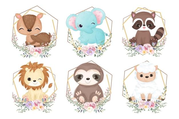 Zestaw ilustracji uroczych zwierzątek w akwareli