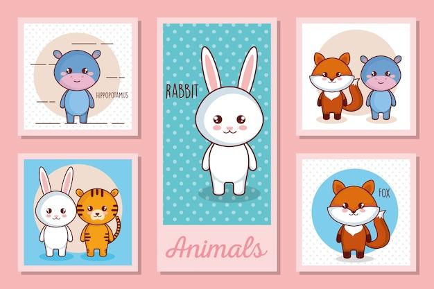 Zestaw ilustracji uroczych zwierzątek