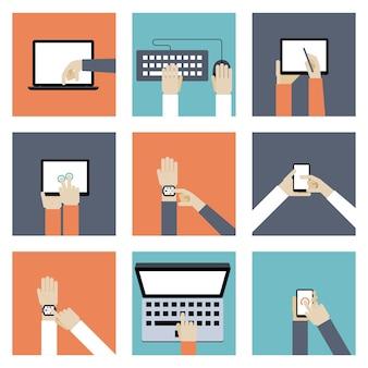 Zestaw ilustracji urządzeń cyfrowych.