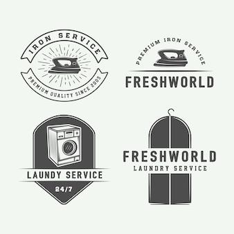 Zestaw ilustracji vintage pralni
