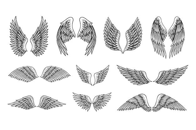 Zestaw ilustracji vintage skrzydła.