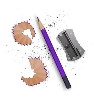Zestaw ilustracji w realistycznym stylu zaostrzony ołówek temperówka, wióry ołówkowe i na białym tle grafit