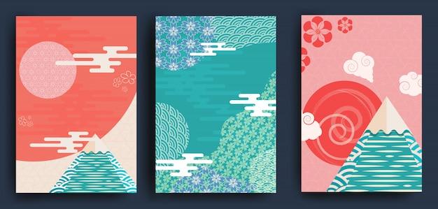 Zestaw ilustracji w stylu japońskim, kwiaty i latarnie.