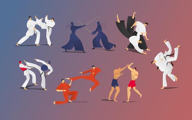 Zestaw ilustracji walki sparing ludzi, kreskówka dwóch postaci wojowników, mężczyzn w prezentacji samoobrony kimona