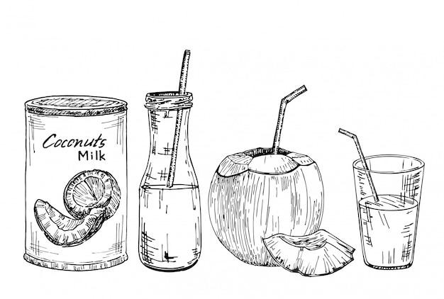 Zestaw ilustracji wegańskie mleko, szkic. butelki z mlekiem wegetariańskim lub roślinnym, butelka, słoik i szklanka z mlekiem kokosowym, kokos.