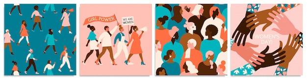 Zestaw ilustracji wektorowych. 8 marca, międzynarodowy dzień kobiet.