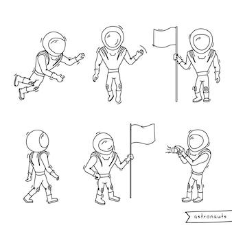 Zestaw ilustracji wektorowych astronauty. doodle odkrywania i osiągania planet