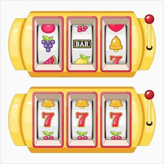 Zestaw ilustracji wektorowych automatów do gry