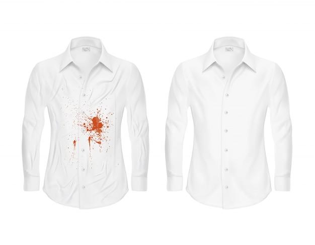 Zestaw ilustracji wektorowych białej koszuli z czerwonym plamką i czyste, przed i po pralni chemicznej