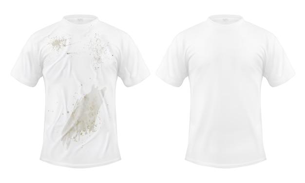 Zestaw ilustracji wektorowych białej koszulki z brudną plamą i czyste, przed i po praniu chemicznym