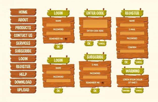 Zestaw ilustracji wektorowych cartoon drewniane znaki, elementy projektu gui