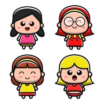 Zestaw ilustracji wektorowych cute girl cartoon