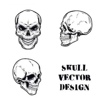 Zestaw ilustracji wektorowych czaszki
