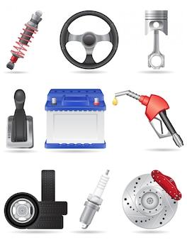 Zestaw ilustracji wektorowych części samochodowych elementów