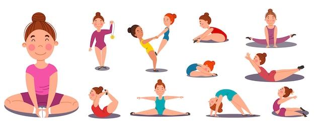 Zestaw ilustracji wektorowych dziewcząt zaangażowanych w gimnastykę.