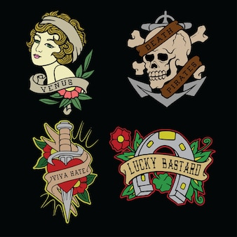 Zestaw ilustracji wektorowych flash tatuaż
