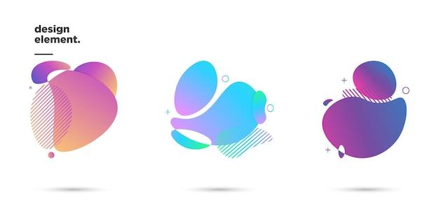 Zestaw ilustracji wektorowych grafikę nowoczesnych abstrakcyjnych dynamicznych kolorowych form i elementów linii. gradientowe abstrakcyjne tło płynące kształty cieczy. szablon do projektu ulotki, prezentacji