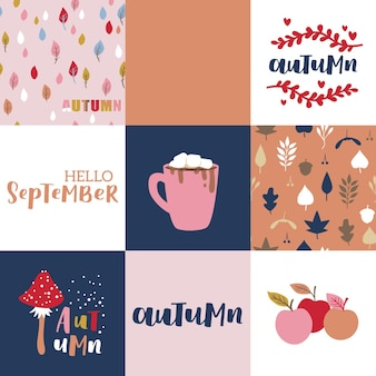 Zestaw ilustracji wektorowych jesień z napisem strony. modna paleta kolorów i frazy czarnym tuszem na abstrakcyjnym tle. śliczne elementy typografii.