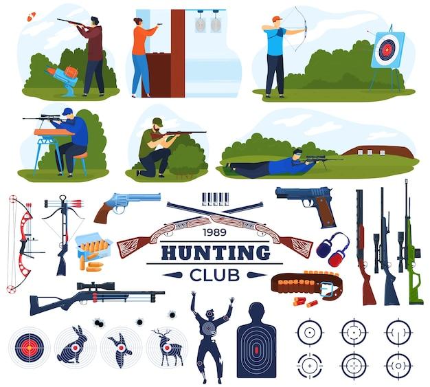Zestaw ilustracji wektorowych klubu myśliwskiego, kolekcja sprzętu myśliwego płaskiego kreskówki z galerią strzelecką i mężczyzną trzymającym broń