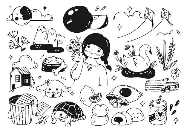 Zestaw ilustracji wektorowych kolekcji doodle obiektu kawaii