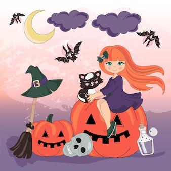Zestaw ilustracji wektorowych kolor halloween pumpkin holiday