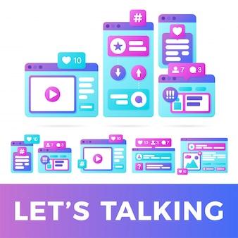 Zestaw ilustracji wektorowych koncepcji komunikacji społecznej mediów. media społecznościowe z kolorowymi wieloplatformowymi oknami przeglądarki