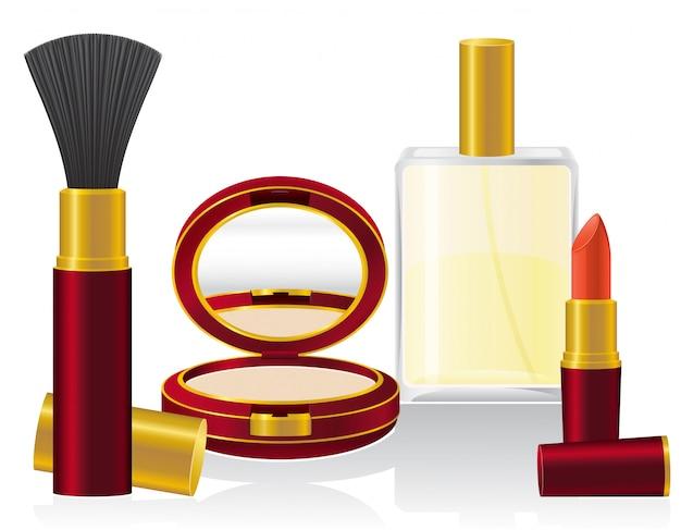 Zestaw ilustracji wektorowych kosmetyków