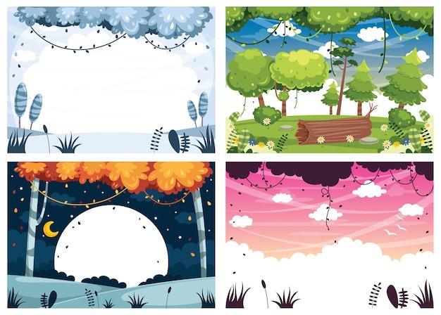 Zestaw ilustracji wektorowych krajobrazów