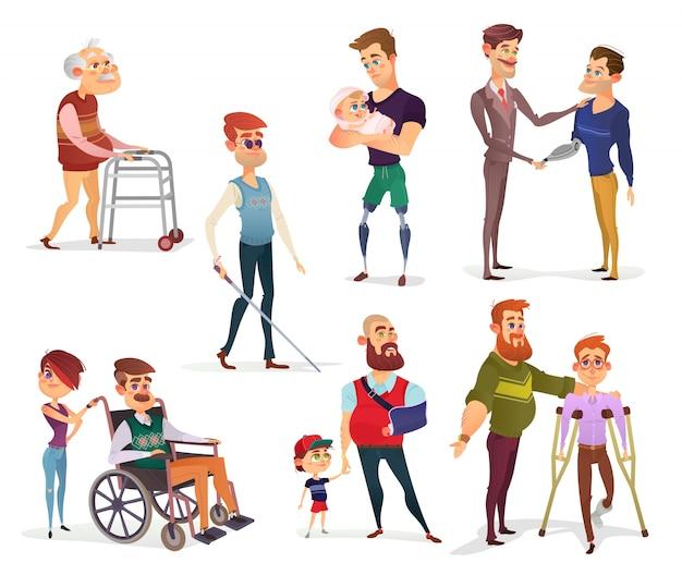 Zestaw ilustracji wektorowych kreskówek osób niepełnosprawnych na białym.