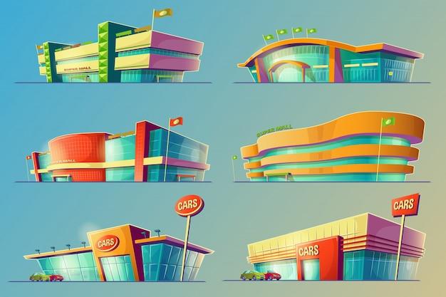 Zestaw ilustracji wektorowych kreskówek, różne budynki supermarketów, sklepy, duże centra handlowe, sklepy