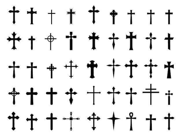 Zestaw ilustracji wektorowych krzyż religii