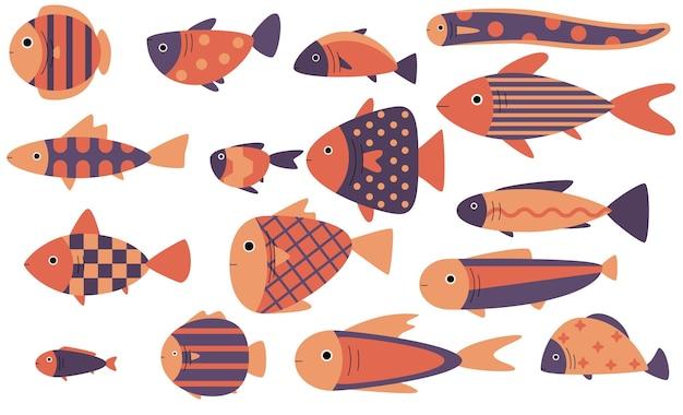 Zestaw ilustracji wektorowych ładny ryb, płaski