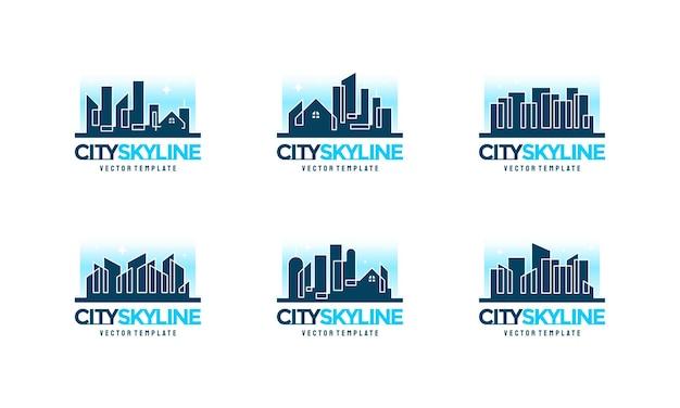 Zestaw ilustracji wektorowych linii panoramę miasta, projekty logo budowy miasta, symbol logo nieruchomości