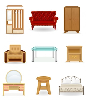 Zestaw ilustracji wektorowych mebli. sofa, łóżko, krzesło, biurko, szafa