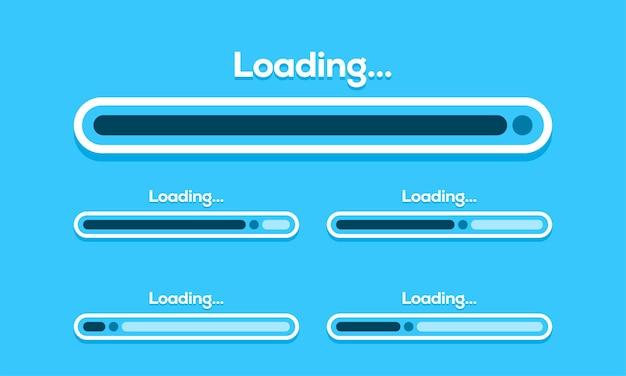 Zestaw ilustracji wektorowych paska ładowania. wizualizacja postępów. zbieranie statusu ładowania. elementy projektowania stron internetowych, ładowanie szablonu wektora infografiki