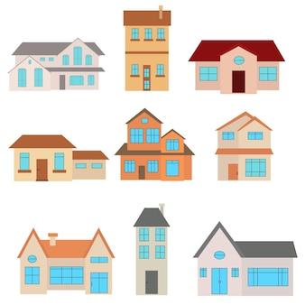 Zestaw ilustracji wektorowych płaski dom