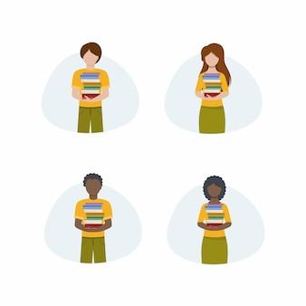 Zestaw ilustracji wektorowych płaski. książki trzymają ludzie różnych narodowości i płci. afro mężczyzna i kobieta trzymają podręczniki z biblioteki. rysunki do księgarni, aplikacji lub strony internetowej.