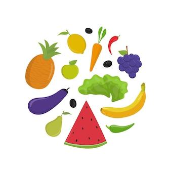 Zestaw ilustracji wektorowych płaski owoców i warzyw. cały surowy banan i jabłko, plasterek arbuza
