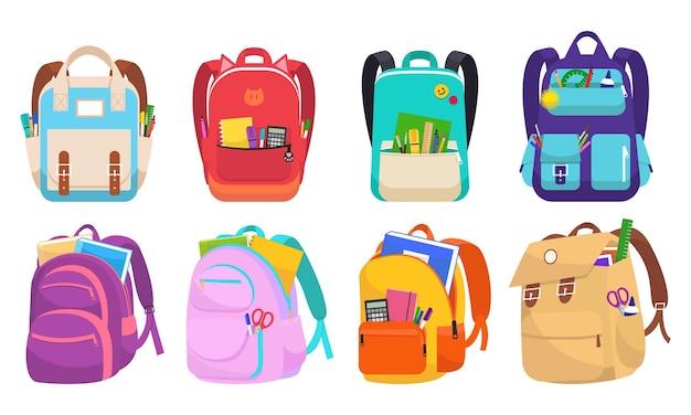 Zestaw ilustracji wektorowych plecaki szkolne kolorowe dziecinne. edukacja i nauka z powrotem do szkoły, bagaż szkolny. kolekcja różnych toreb dla dzieci z papeterią na białym tle.