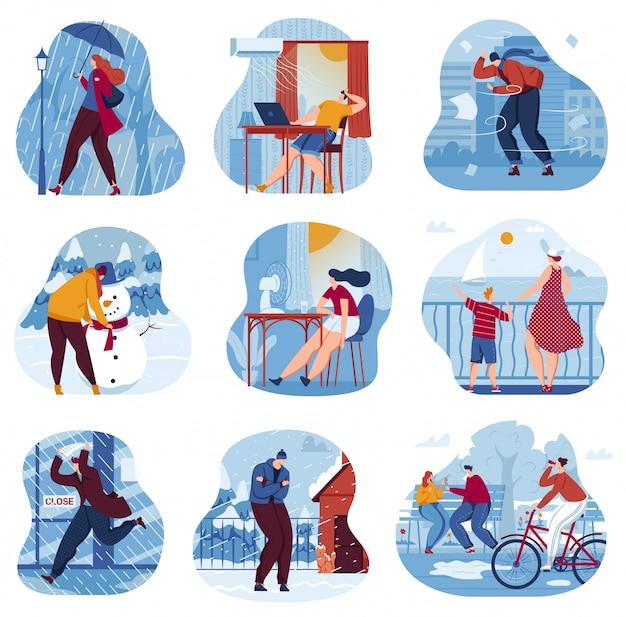 Zestaw ilustracji wektorowych pogoda pory roku.