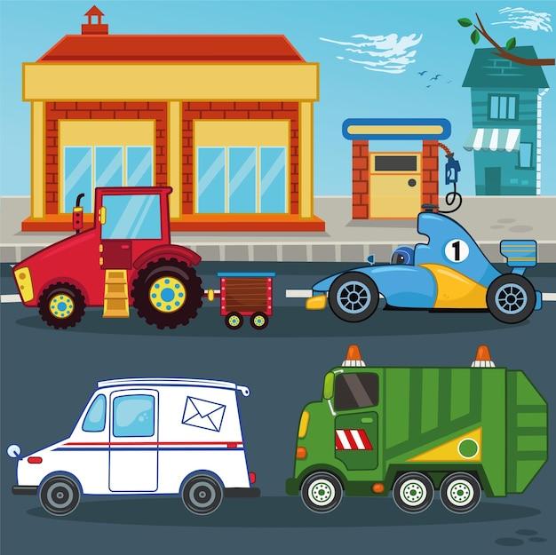 Zestaw ilustracji wektorowych pojazdu z kreskówek ciągnik wyścigowy samochód pocztowy śmieciarka
