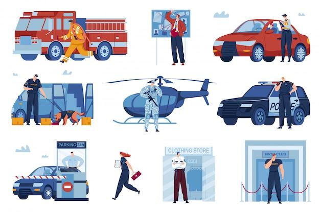 Zestaw ilustracji wektorowych pracy strażników ratowniczych.