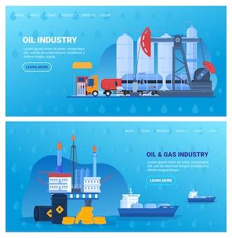 Zestaw ilustracji wektorowych przemysłu naftowego, kolekcja płaskich banerów przemysłowych płaskich kreskówek z platformą wiertniczą, zbiornik magazynowy