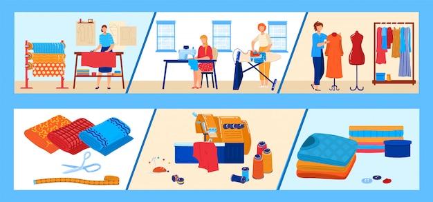 Zestaw ilustracji wektorowych przemysłu włókienniczego.