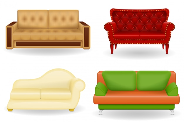 Zestaw ilustracji wektorowych realistyczne sofa meble