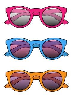 Zestaw ilustracji wektorowych różowe, niebieskie i pomarańczowe okulary przeciwsłoneczne