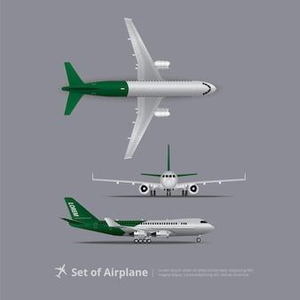 Zestaw ilustracji wektorowych samolotem na białym tle