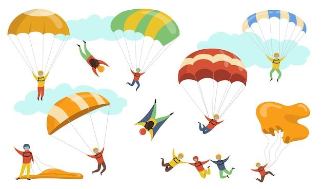 Zestaw ilustracji wektorowych spadochroniarzy. ludzie w kaskach i maskach latający na spadochronach i paralotniach. do skoków spadochronowych, hobby, adrenaliny, koncepcji sportu
